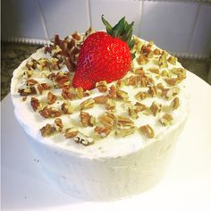 """5"""" 2-Layer Strawberry Cake w/Whipped Cream Frosting, Topped w/Chopped Pecans & a Fresh Strawberry by Twist of Sunshine Designs"""