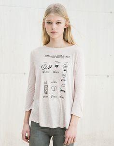 Text and print top - T- Shirts - Bershka Turkey