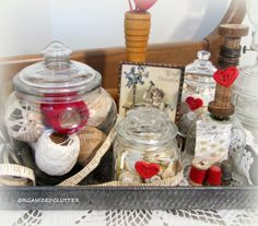 Vintage Sewing Valentine's Day Vignette With Buttons, Thread, Measuring Tape, Thimbles,  Bobbins