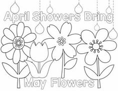 april showers bring may flowers coloring page - weather activities april showers bring may flowers