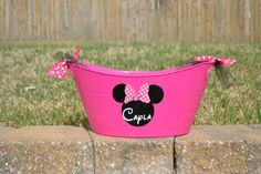 Personalized pink Minnie  Mouse bucket/ tub by ihaveafavor on Etsy, $12.00