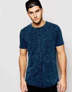 Image 1 of ASOS Super Longline T-Shirt With Acid Wash Exposed Seams And Scooped Hem $17.50