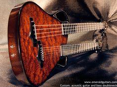 Carbon Fiber custom Chimaera acoustic bass and acoustic guitar doubleneck