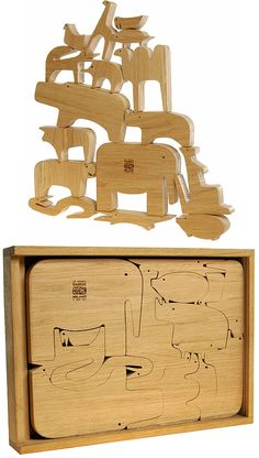 The works of Enzo Mari really speak to us. We've admired his Fruit Prints, especially La Pera. One of his best designs is the Sedici Animali wooden puzzle created for Danese in 1957.    The puzzle consists of 16 different animals that fit together. The animals can also stand upright and played with as figurines. Danese issues 300 of these editions every year, each one numbered. So, yes, it's a luxury item. You can get yours at Inhabitat and elsewhere for about $600.