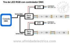 Circuito de conexion de tiras de LEDs con controlador DMX.