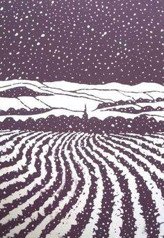 'Masham, Winter by Ian Scott Massie (screenprint) Winter Illustration, Landscape Illustration, Illustration Art, Landscape Prints, Landscape Paintings, Photomontage, Linoprint, Winter Art, Winter Landscape