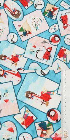 "blue cotton fabric with little girl, rabbits, snow, snowmen, mailbox etc., Material: 100% cotton, Fabric Type: smooth cotton fabric, Pattern Repeat: ca. 30.3cm (11.9"") #Cotton #Children #Christmas #USAFabrics Kawaii, Christmas Fabric, Mailbox, Snowmen, Rabbits, Repeat, Little Girls, Cotton Fabric, Smooth"