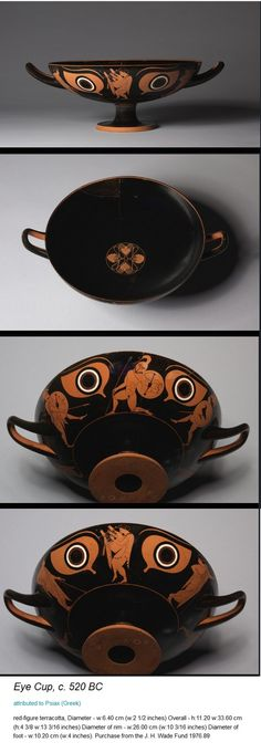 "from the Cleveland Museum of Art - ""Eye Cup"": Greece, 520 BC Ancient Greek Art, Ancient Romans, Ancient Greece, Greek Mythological Creatures, Greek Pottery, Black Figure, Greek History, Cleveland Museum Of Art, Minoan"