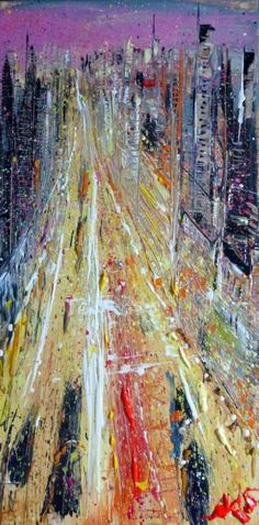 ARTFINDER: City, original painting 50x100 cm by Anastasiya Kachina - Acrylic on canvas 50x100 cm I love to write the city nightlife . Dusk , sunset, dark night for me the most beautiful time of the day and I always try to ca...