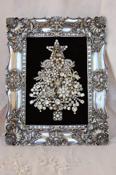 Framed Antique Christmas brooch ~ Pretty