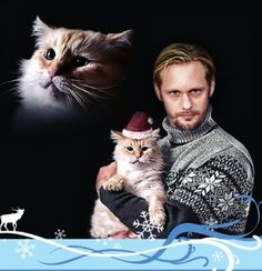 Alexander Skarsgard from True Blood, his Christmas card....I think I love him more.