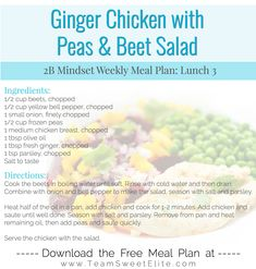 Ginger Chicken with Peas & Beet Salad Healthy Foods, Healthy Eating, Healthy Recipes, Clean Eating Recipes, Lunch Recipes, Lemonade Bar, Pumpkin Pie Smoothie, Different Diets, Body Coach