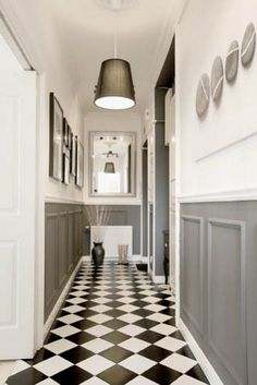 Teds Wood Working - definitrely want half panelling (painted) in the hall ground floor and kitchen eating area - Get A Lifetime Of Project Ideas & Inspiration! Black And White Hallway, Black And White Tiles, Black White, Black And White Flooring, Tiled Hallway, Hallway Flooring, Tile Flooring, Gray Hallway, Upstairs Hallway