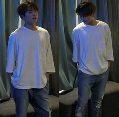 Jungkook knows how to style a plain shirt Jesus. When I wear white I look like a marshmallow