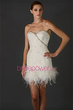 BridePower offers this short and sexy wedding dress with feathers and sparkles. A fun style for a wedding reception dress. Sexy Wedding Dresses, Casual Wedding, Reception Dresses, Formal Dresses, Wedding Reception, Vows Bridal, Bridal Gowns, Wedding Dress With Feathers, Designer Wedding Gowns