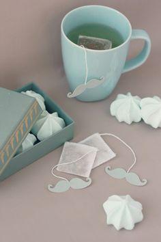 Sachet de thé Rétro Gourmand Etiquette Moustache à par TeaHeritage, $7.00