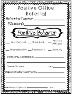 Positive Office Referral Form Great for PBIS! Positive office referral form to encourage positive behavior is students. This form is simple and easy to use for teachers, counselors, aide and etc. Elementary School Counseling, School Social Work, School Counselor, School Classroom, Elementary Schools, Classroom Decor, Group Counseling, Social Emotional Learning, Social Skills
