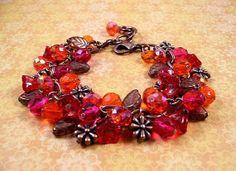 Flower Charm Bracelet Red Orange Fuschia Bouquet by justCHARMING, $30.00~<3