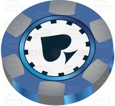 Blue And White Casino Chip With Black Spade In Center #bet #casino #currency #disc #gambling #games #gaming #lasvegas #leisure #money #table #token #winning #vector #clipart #stock