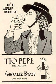 """Sol de Andalucía..."". Mujer besando la copa. Formato dibujo. / ""Andalusian Sun...."" Woman kissing a Sherry glass (in a drawing format)."