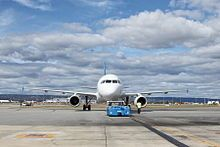 Skywest Airlines A320-200 about to take off from Perth Domestic Airport, Australia