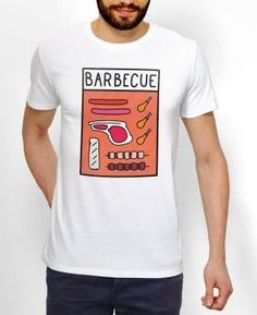 Teeshirts Homme Pop Barbecue Blanc by Monsieur TSHIRT WTF
