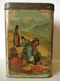 vintage Mazawattee Tea tin ... artwork of women in mountains with baskets of fruit, c. 1900, UK