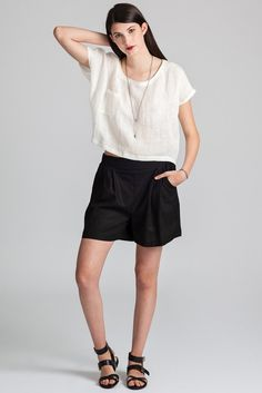 The Gabriola is a loose fitting linen short sleeve tee with one breast pocket. Made in Vancouver, Canada by eco-fashion label Pillar. Linen Shorts, Fashion Labels, Slow Fashion, Short Sleeve Tee, Tee Shirt, Breast, Spring Summer, Rose, Shirts