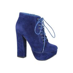 Women's Beston Tomo-01 - Blue Ankle Boots ($49) ❤ liked on Polyvore featuring shoes, boots, ankle booties, blue, short lace up boots, chunky heel bootie, lace up chunky heel booties, bootie boots and short boots