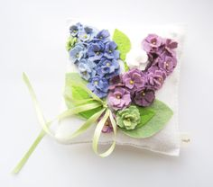 Lilac Periwinkle Lavender Celery Wedding Ring Bearer Pillow in Wool Felt