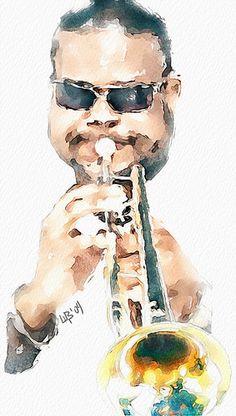 Vitaly Shchukin (piker77)             DIGITAL WATERCOLOR   The trumpeter