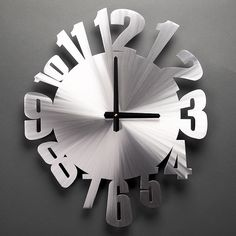 """Warped Clock by Sondra Gerber Hand-brushed aluminum clock with distorted numbers. Put a time warp on your wall! What a great way to decorate and still keep track of time! Contemporary hand made aluminum wall sculpture and clock. Signed. 15 x 18"""""""
