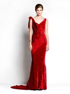 Maxi Dress John Galliano red jacqard velvet  http://www.goldenbrands.gr/public/product/dresses-galliano-azzaro-blumarine-sophiakokosalaki/5021800025