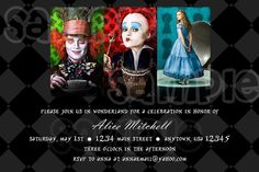 Alice in Wonderland Birthday Invitation by PoshPartyPrints on Etsy, $1.00