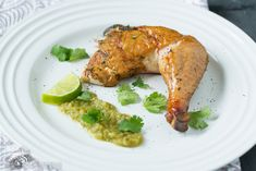Smoked Whole Chicken with Homemade Tomatillo Salsa.  With oven and crock pot instructions.  #grainfree #glutenfree
