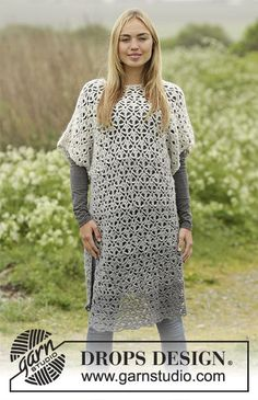 Free Pattern Winter Skies Tunic by DROPS Design Crochet tunic in 2 strands DROPS Alpaca with lace pattern and stripes, worked top down. Size S-XXXL.