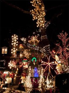 "Dyker Heights, Brooklyn, NY - They say the neon lights are bright on Broadway, but Christmas lights take center stage in Dyker Heights. Year after year, the competitive New York spirit drives homeowners to outdo one another, making a fantastic show for Christmas-decor devotees. Make it a night by trying the ""Christmas and Cannoli"" bus tour that offers a comprehensive tour of Dyker Heights, as well as a pit stop where you can warm up with hot chocolate and cannolis from a local pastry shop."