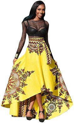 4bf1df92103 LONUPAZZ Maxi Robe De Soirée Africaine Manche Longue Femme été Bohème  Imprimée Robe De Plage (