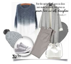 """Grey Ombre Round Neck Mohair Sweater"" by sselma93 ❤ liked on Polyvore featuring Converse, AG Adriano Goldschmied, Sole Society, women's clothing, women, female, woman, misses, juniors and Sheinside"