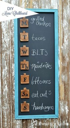 DIY Menu Board 2019 This cute menu board is an easy DIY project that will help you get organized and add a touch of fun to your home decor. A double win! < The post DIY Menu Board 2019 appeared first on House ideas. Diy Kitchen Decor, Easy Home Decor, Cheap Home Decor, Kitchen Ideas, Decorating Kitchen, Kitchen Interior, Diy House Decor, Diy Kitchen Accessories, Kitchen Decorations