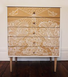 SOLD Cromarty Vintage Retro Upcycled Chest of Drawers Diy Furniture Chair, Diy Pallet Furniture, Funky Furniture, Refurbished Furniture, Shabby Chic Furniture, Furniture Makeover, Painted Furniture, Furniture Refinishing, Luxury Furniture