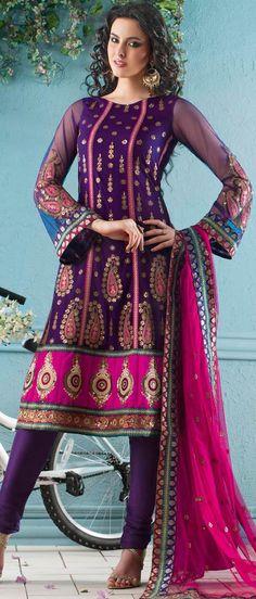 Violet Net #Churidar Suit @ $185.57 | Shop Now @ http://www.utsavfashion.com/store/sarees-large.aspx?icode=kgb1393