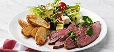 Flank steak,  Yrtti – ja sitruunaöljy  stockmannherkku.fi Flank Steak, Meat, Kitchen, Food, Skirt Steak, Cooking, Kitchens, Essen, Meals