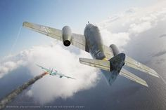 """""""Northern Hunter"""" by Ronnie Olsthoorn Aviation Art   A what-if scenario of a Messerschmitt Me P 1070 of a JG 5 ace, shooting down a high-flying Mosquito, off the coast of Norway. Projekt 1070 was a light-weight alternative for Projekt 1065, which developed into the famous the Me 262."""