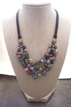 Ooak, Triple Stranded Fresh Water Pearl Necklace with Suede by dnajewelrydesigns on Etsy https://www.etsy.com/listing/123995016/ooak-triple-stranded-fresh-water-pearl