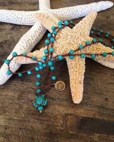 "Surfing Turtle Turquoise, Bronze Lotus,  Multi Wrap Bracelet, ""Surfer Chic"" $45.00"