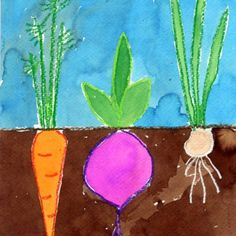 Art Projects for Kids: Vegetable Garden Watercolor Painting. Perfect for plants ., - Art Projects for Kids: Vegetable Garden Watercolor Painting. Perfect for plants …, - School Art Projects, Projects For Kids, Art School, Spring Art Projects, Kindergarten Art Projects, Children Art Projects, Garden Projects, Kids Crafts, Art 2nd Grade