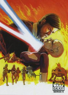 """""""Official Topps Star Wars Trading Card Art:Passion of the Force – In the Clone Wars series Obi Wan and Ventress have a love hate relationship. Though they are enemies their mutual respect for one another creates a dramatic sexual tension between them. Here I have taken inspiration from the classic Gone with The Wind Movie."""" Art by Randy Martinez"""