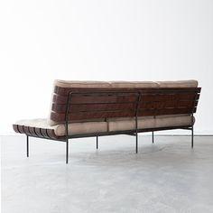 wood slatted sofa (Joaquim Tenreiro,  1950s)