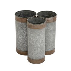 19-inch Metal Galvanized Planter (Set of 3)